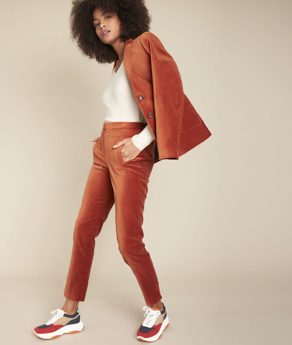 Ethan mahogany straight velvet trousers PhotoZ   1-2-3