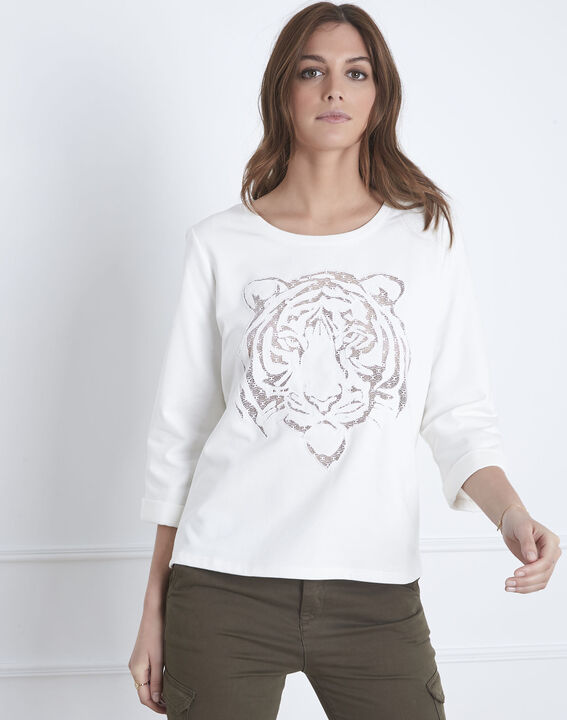 Pondichéry ecru pullover with tiger head and see-through details (2) - Maison 123