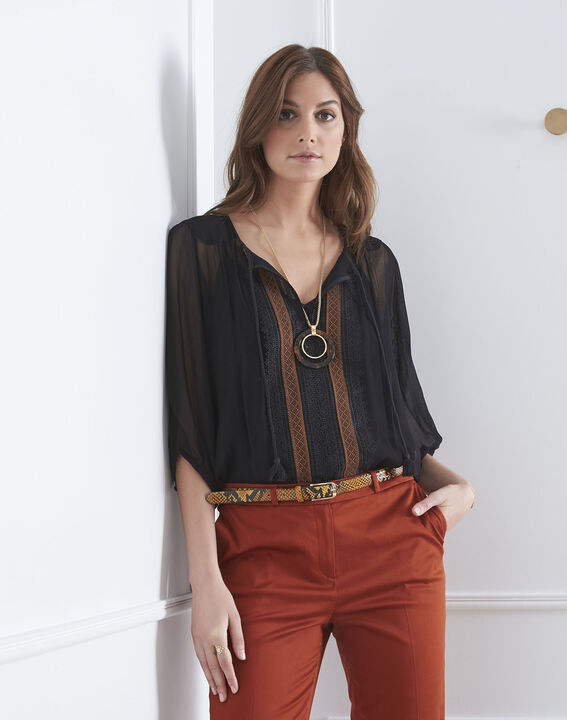 Valentine black lace blouse with tassels (2) - Maison 123