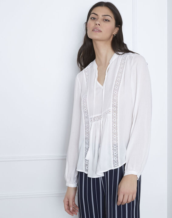 Viviana ecru lace blouse with striped detail PhotoZ | 1-2-3