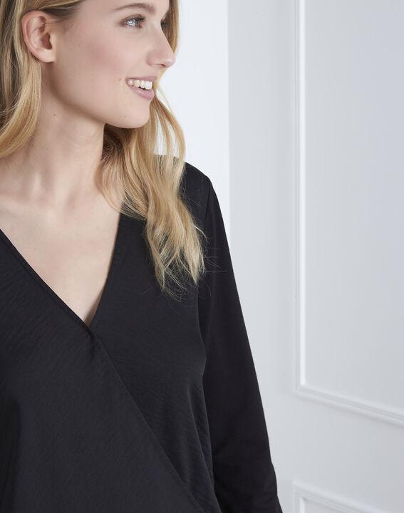 Black bi-material wrap around blouse (3) - Maison 123