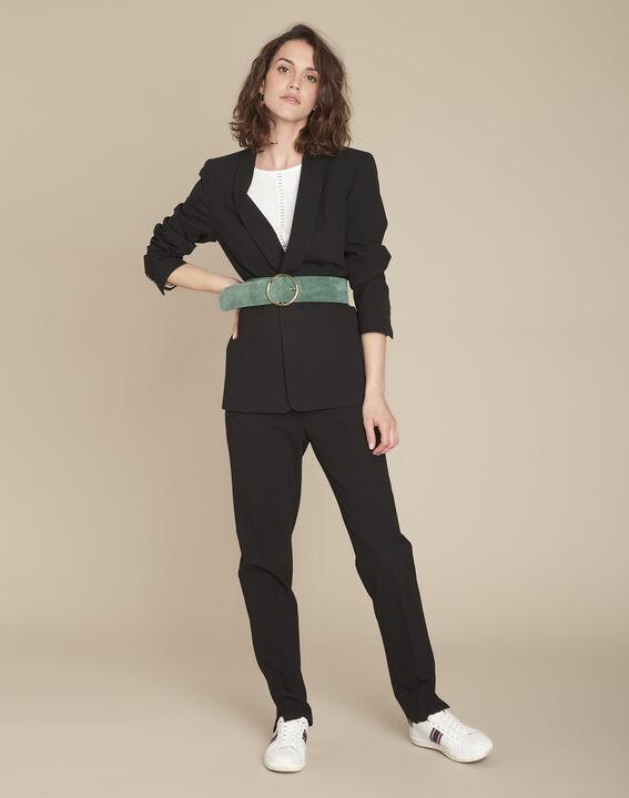 Stella black microfibre shawl collar jacket (2) - Maison 123