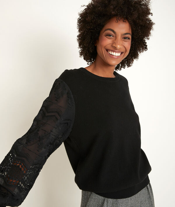 Relly pullover with lace sleeves PhotoZ | 1-2-3