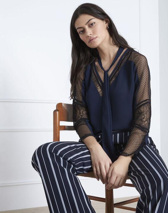 Verica navy lace tie blouse (1) - Maison 123