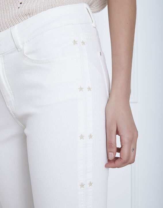 Cactus ecru slim jeans with star embroidery (3) - Maison 123