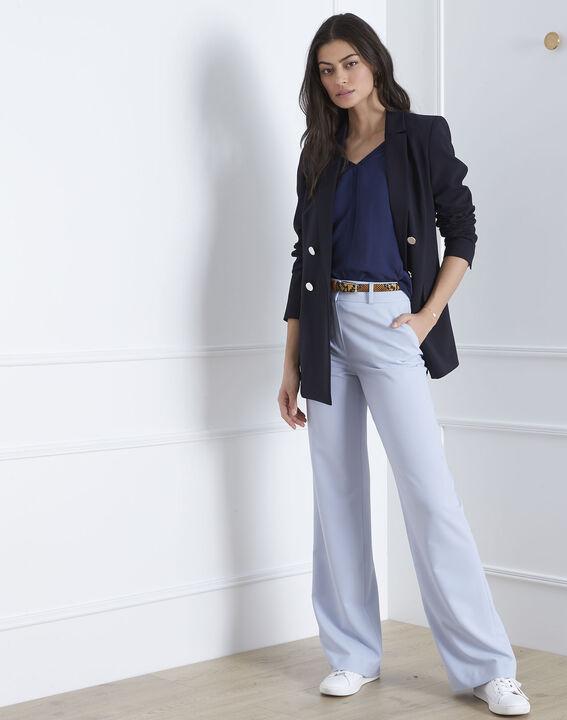 Vanissa navy bi-material blouse PhotoZ | 1-2-3