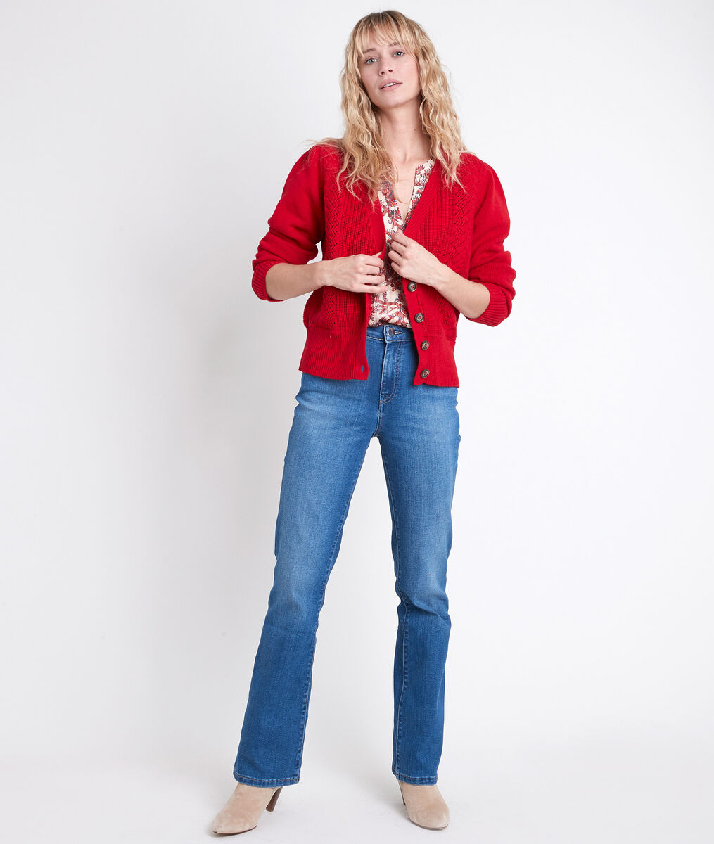 ABBIE decorative red cardigan PhotoZ | 1-2-3