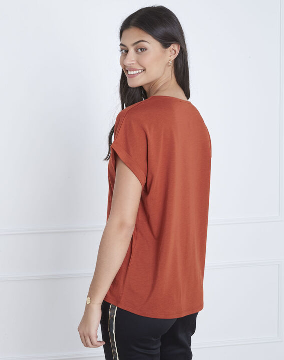 Papeete brown T-shirt with lacing (4) - Maison 123