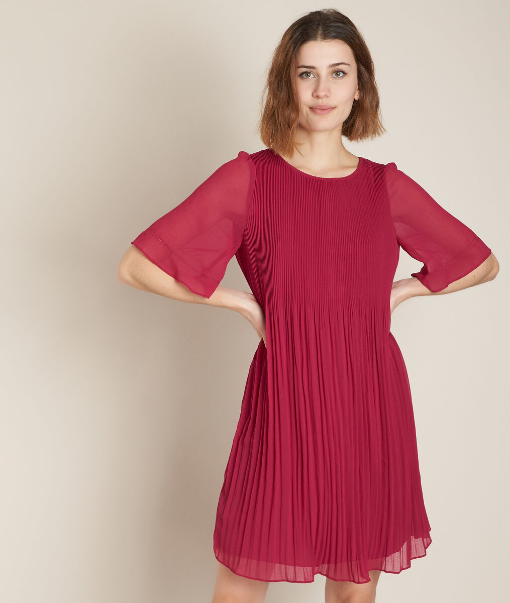 Coralia cyclamen pleated dress PhotoZ | 1-2-3