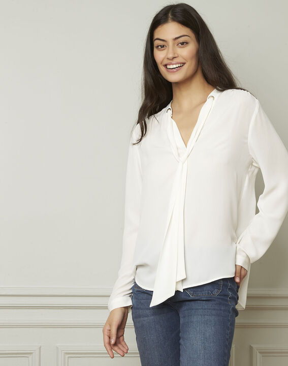 Valence white blouse with lavallière collar PhotoZ | 1-2-3