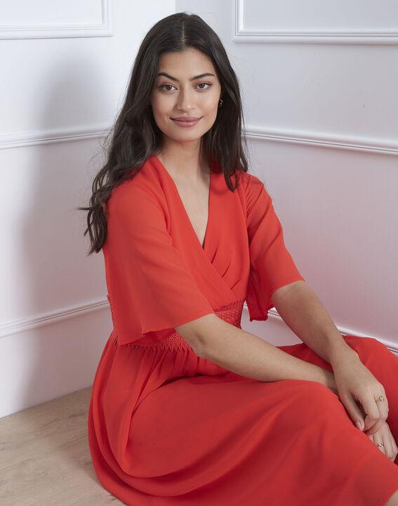 Helene red wrap-over macramé dress (2) - Maison 123