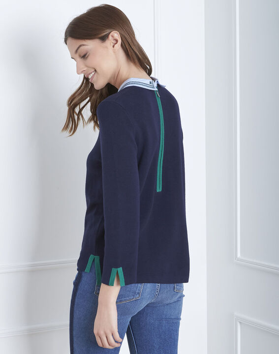 Altesse navy jumper with decorative neckline (4) - Maison 123