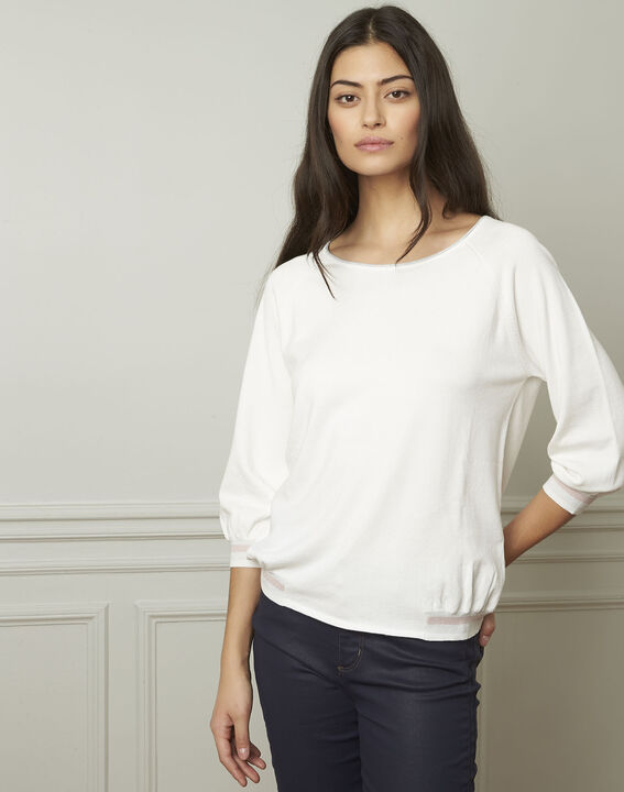 Amarante white sporty style pullover with lurex details (1) - Maison 123