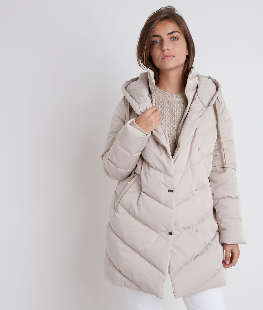Lison beige hooded down jacket PhotoZ | 1-2-3