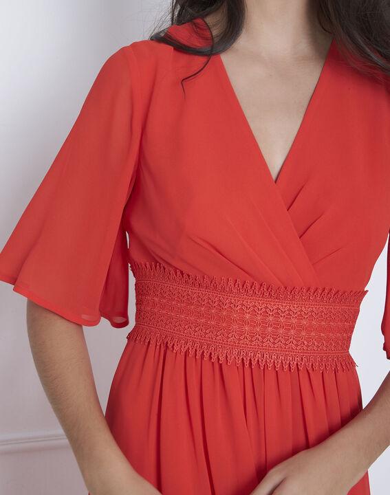 Helene red wrap-over macramé dress (3) - Maison 123