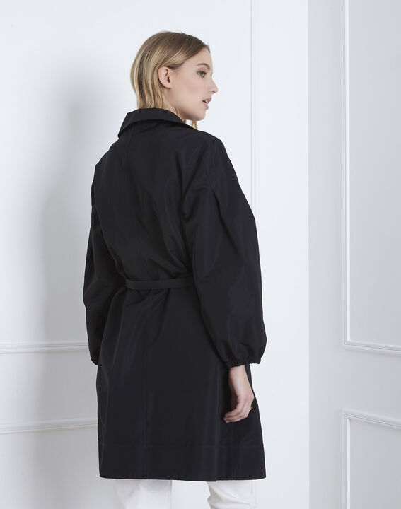 Daniela black belted trench coat (5) - Maison 123