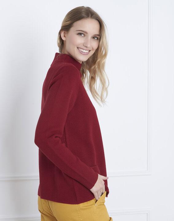 Belize garnet red fine knit funnel neck jumper (4) - Maison 123