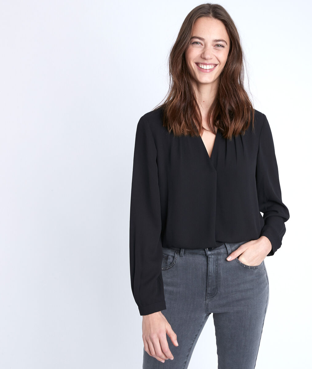 Davina black two-fabric blouse PhotoZ | 1-2-3