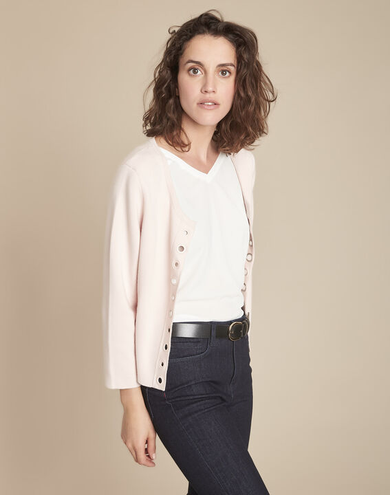 Abricotier powder cardigan with compact eyelets  (2) - Maison 123