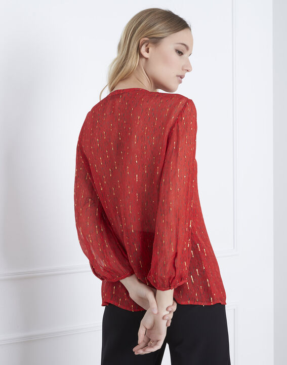 Vidal red blouse with lurex and frilled details (4) - Maison 123