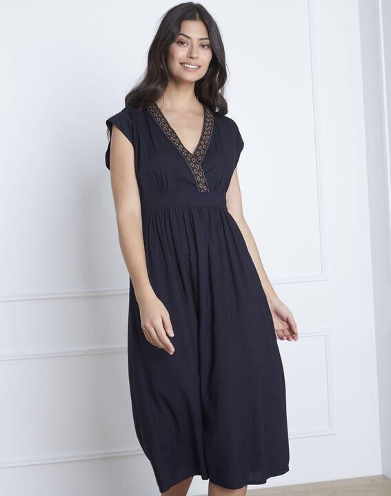Liberté navy embroidered dress (1) - Maison 123