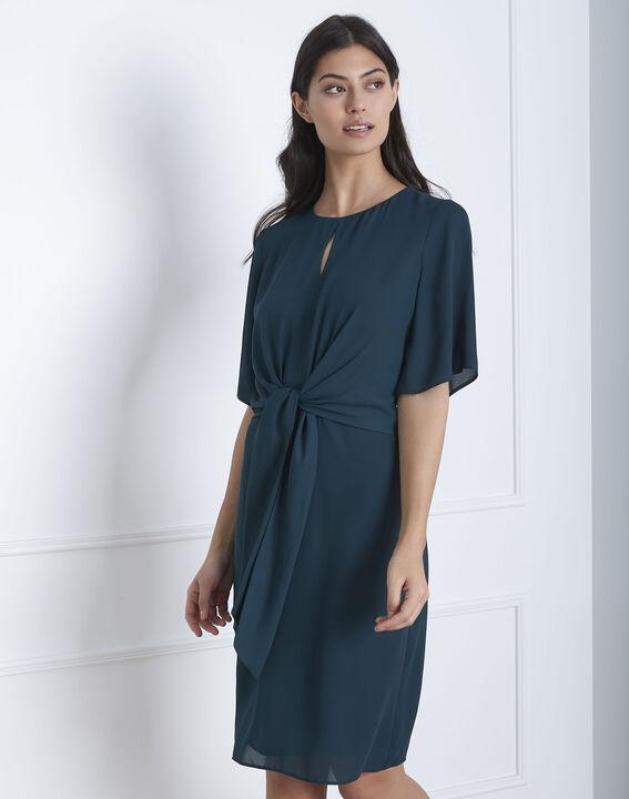 Hermine dark green draped dress PhotoZ | 1-2-3