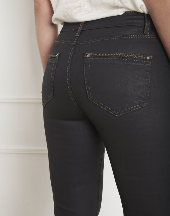 Opera 7/8 length coated black slim-cut jeans (1) - Maison 123