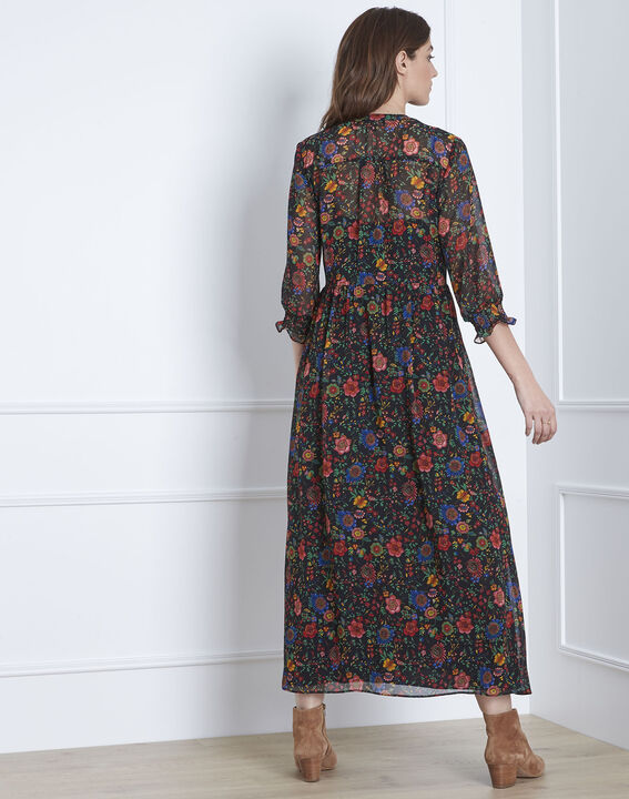 Libra floral print long black dress  (4) - Maison 123