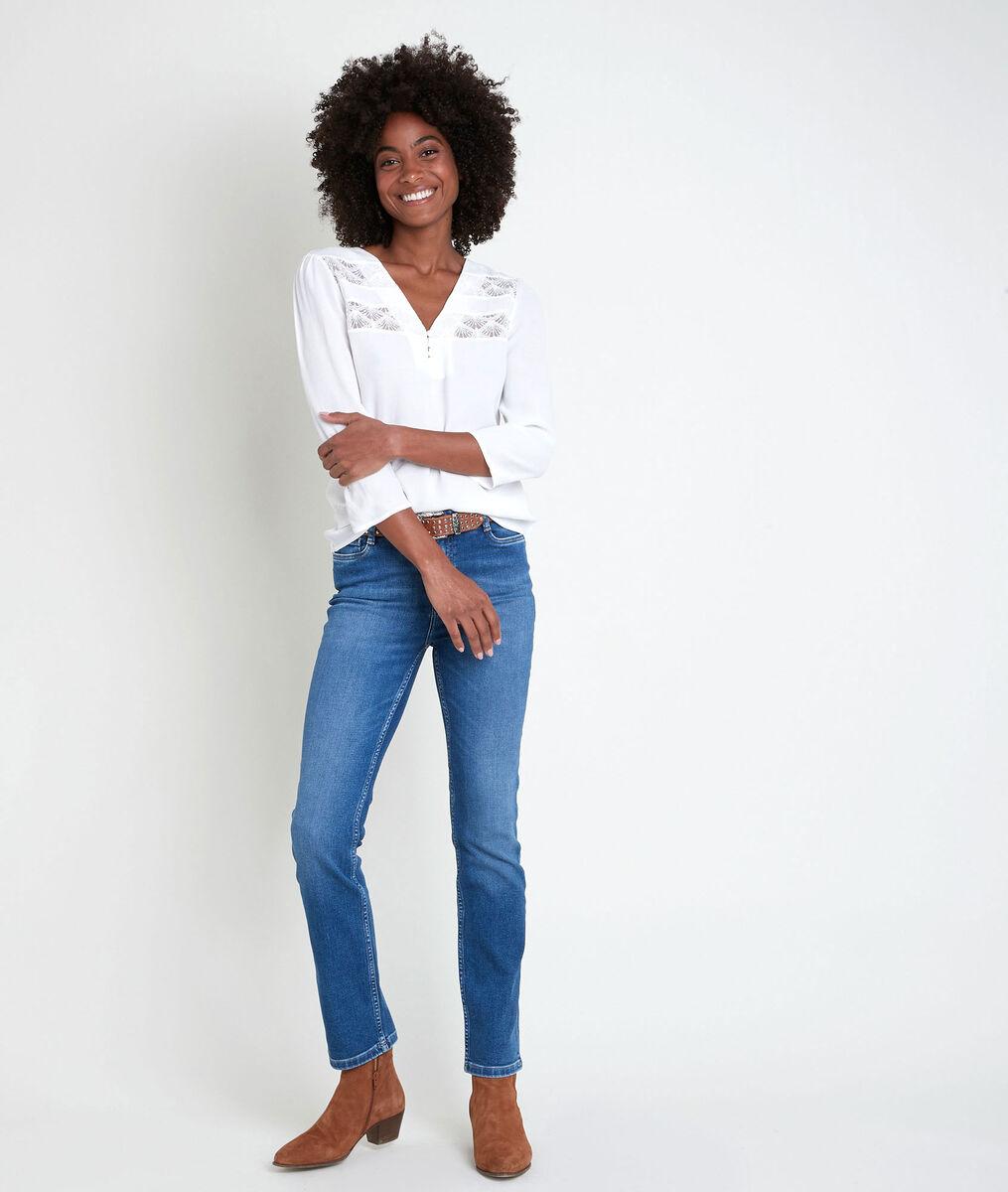 WILL ecru lace dual-fabric top PhotoZ | 1-2-3