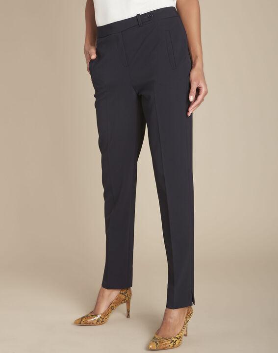 Lara navy microfibre trousers (1) - Maison 123