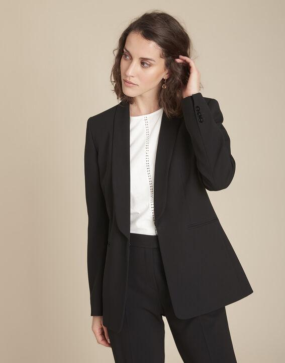 Stella black microfibre shawl collar jacket (1) - Maison 123