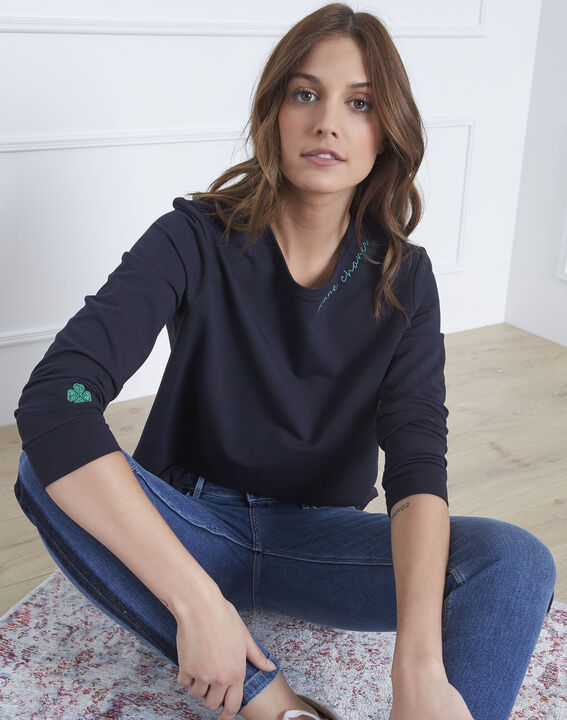 Pastel navy sweatshirt with embroidered neckline PhotoZ | 1-2-3