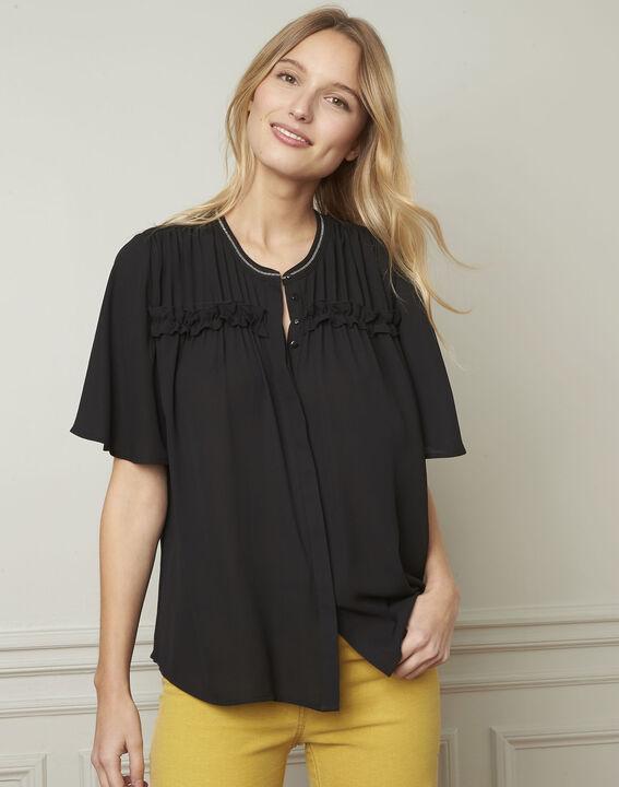 Vitali black blouse with pattern details (1) - Maison 123