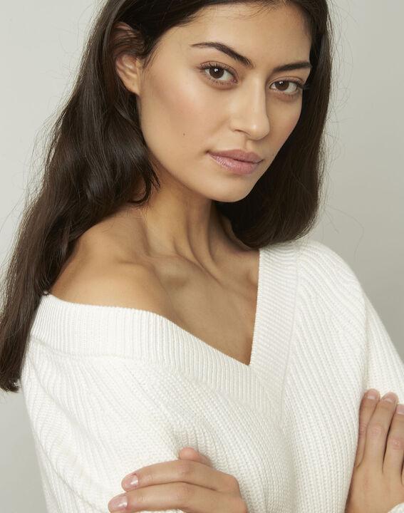 Ankara cream cotton and wool blend V-neck pullover (4) - Maison 123