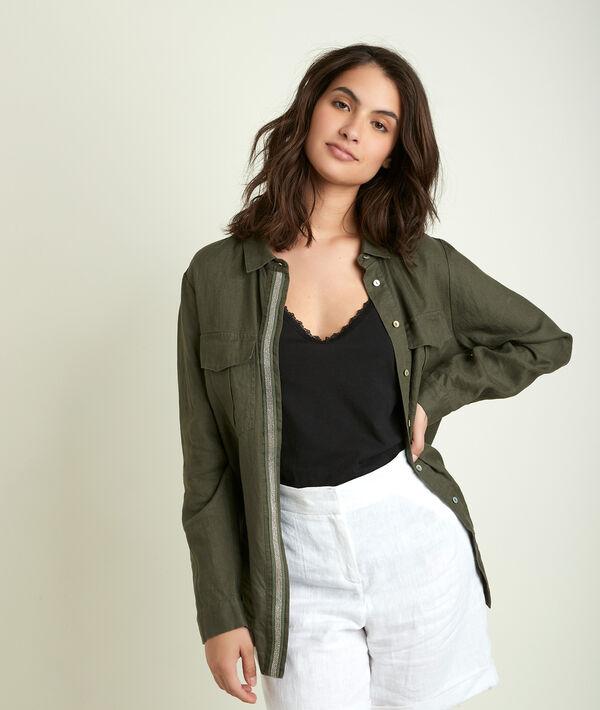 Cathleen leaf green linen shirt PhotoZ | 1-2-3