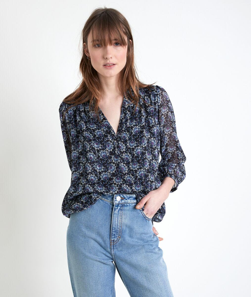 ELSA navy printed blouse PhotoZ | 1-2-3