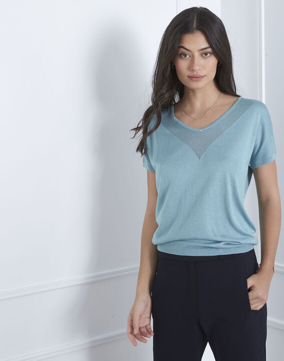 Never blue pullover with neckline detailing (1) - Maison 123