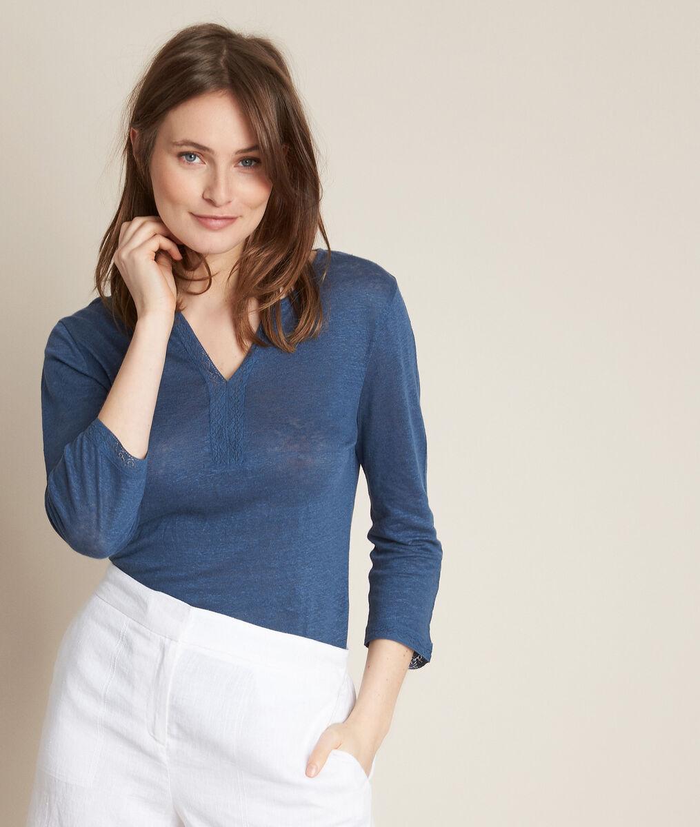 Rizière blue linen T-shirt PhotoZ | 1-2-3