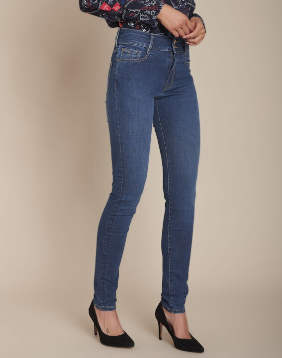 The Iconic Silvia stone-coloured recycled used-look slim-fit PhotoZ | 1-2-3
