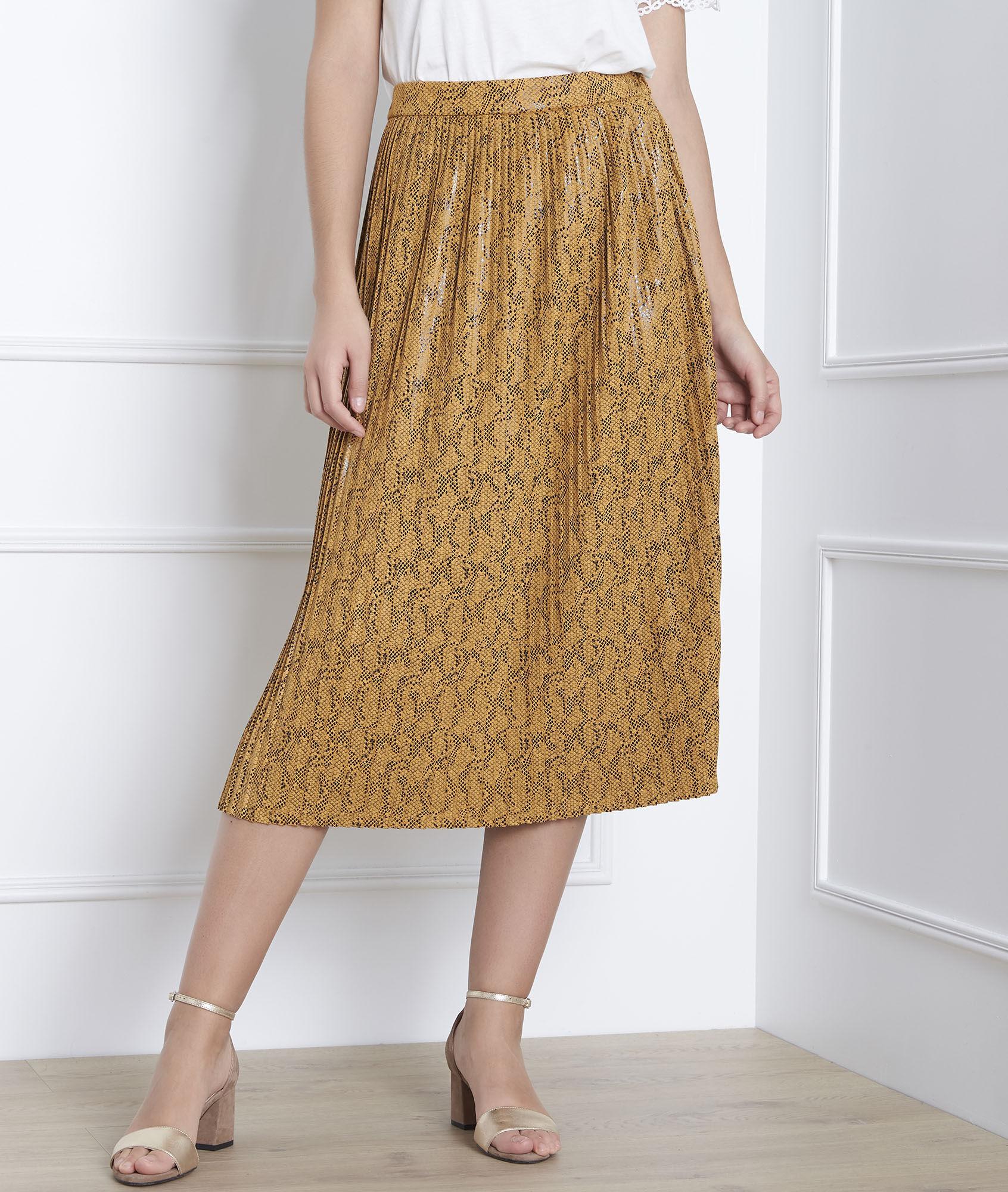 6f177d8e11 Story yellow snakeskin print pleated skirt - Maison Cent Vingt-Trois
