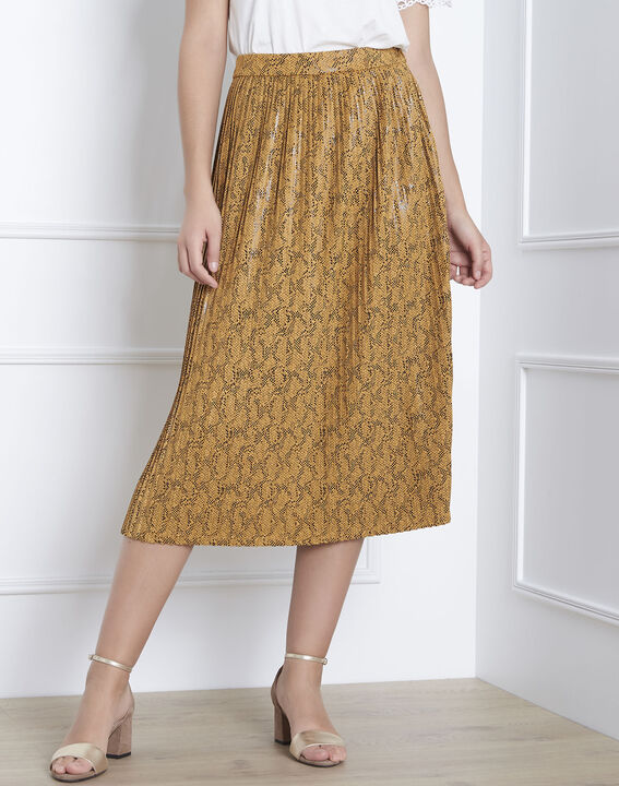 Story yellow snakeskin print pleated skirt PhotoZ | 1-2-3