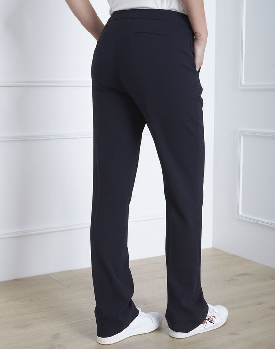 Hugo navy microfibre straight cut trousers with buttoned waistband (4) - Maison 123