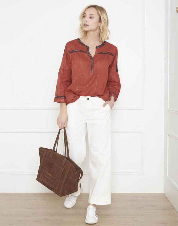 Varan mahogany blouse with ethnic embroidery PhotoZ | 1-2-3