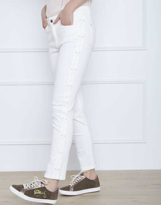 Cactus ecru slim jeans with star embroidery (2) - Maison 123