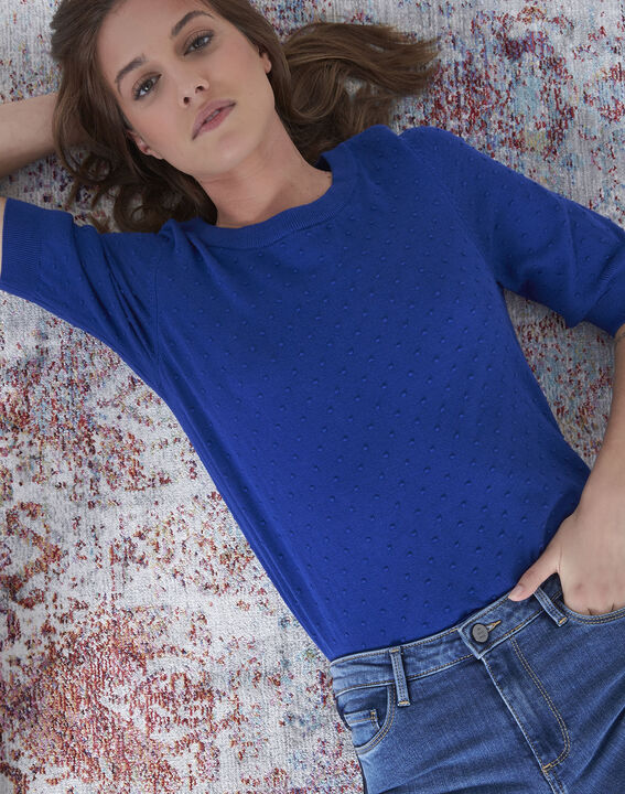 Adriana blue 3D knit pullover with grosgrain bow (2) - Maison 123