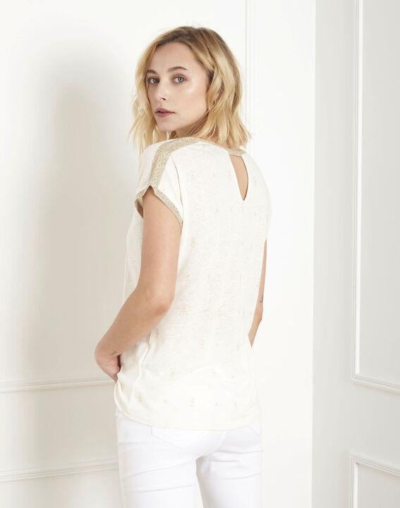 Paon ecru printed lurex T-shirt (4) - Maison 123