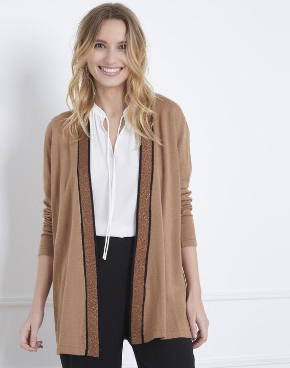 Aurore long tan cardigan with contrasting ribbed hem PhotoZ   1-2-3