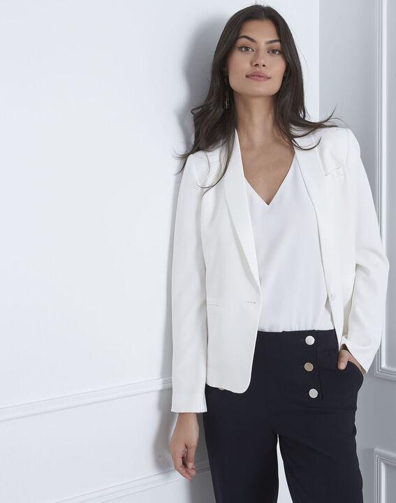 Sabrina white shawl-neck jacket PhotoZ | 1-2-3