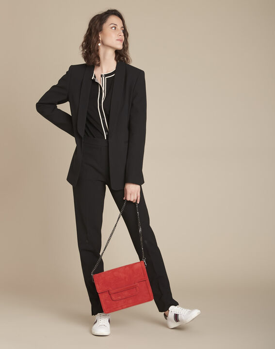 Lara black microfibre cigarette trousers (2) - Maison 123
