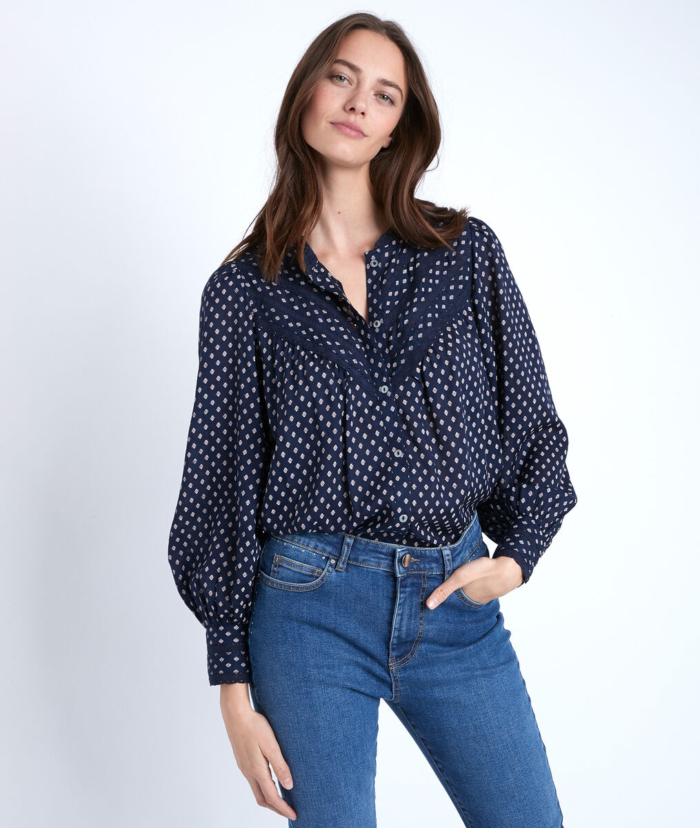 Tomy navy printed blouse PhotoZ | 1-2-3